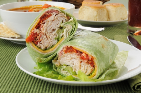 tortilla wrap: Turkey or chicken club wraps with vegetable beef soup