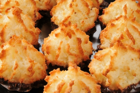Close up of a plate of coconut macaroons, selective focus on center cookie Stock Photo