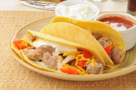 Pork carnitas with cheddar cheese and sour cream photo