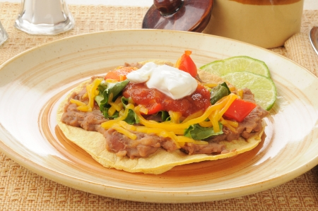 tortilla de maiz: Una tostada en una tortilla de ma�z c�scara