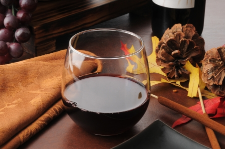 Glass of Cabernet Sauvignon red wine on a holiday table