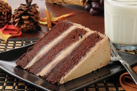 Ein Stuck Gourmet Dreischicht Schokolade Espresso Kuchen Lizenzfreie