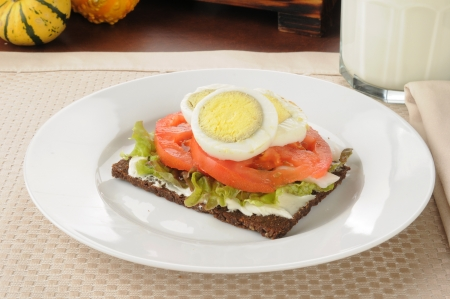 pumpernickel: tomato and hard boiled egg on thin sliced pumpernickel bread