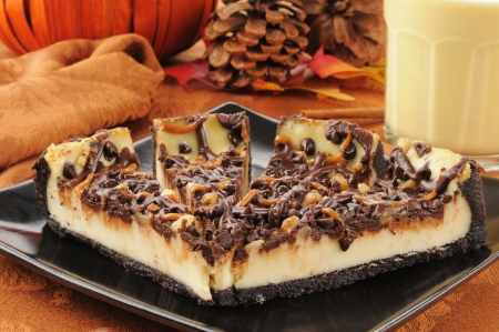 Rich delicious turtle cheesecake with pumpkin spice egg nog photo