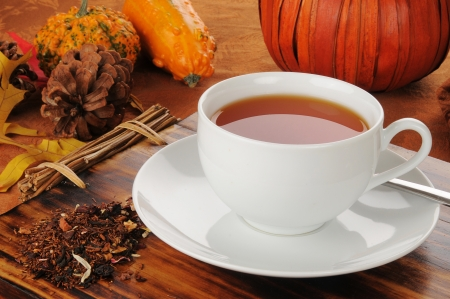 spice: A cup of hot pumpkin spice rooibos tea, a perfect holiday treat Stock Photo