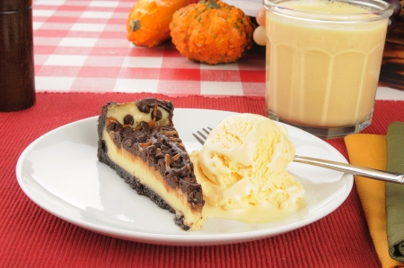egg nog: turtle cheesecake with French vanilla ice cream and egg nog