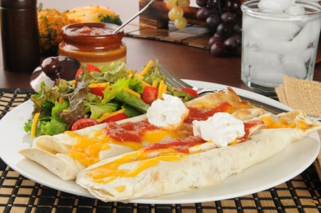 Burritos with melted cheddar cheese and sour cream Banco de Imagens