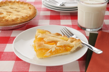 A slice of peach pie with a glass of milk