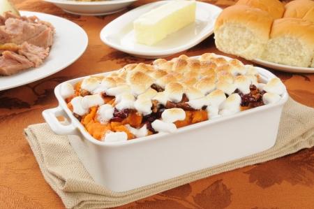 marshmallows: Sweet potato casserole with turkey and dinner rolls Stock Photo