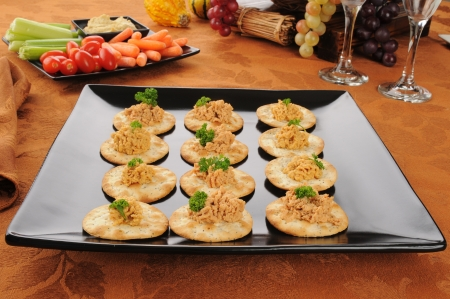 Gourmet wheat crackers with lobster dill pate photo