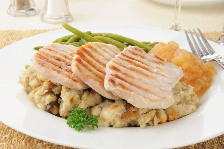 A plate of pork chops on a bed of stuffing with applesauce Banco de Imagens - 16694330