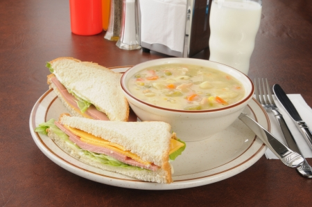 A bologna and cheese sandwich with chicken dumpling soup photo
