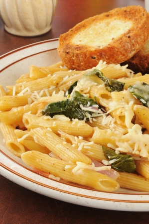Rigatoni pasta with romano and parmesan cheeses and spinach photo