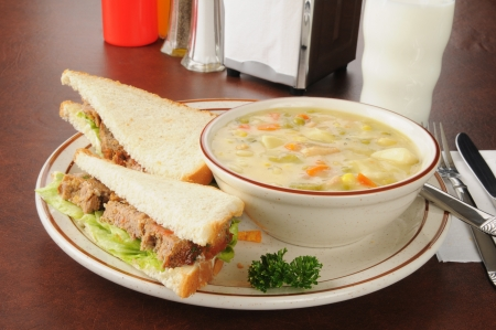 A meatloaf sandwich with chicken dumpling soup Stock Photo - 16818953