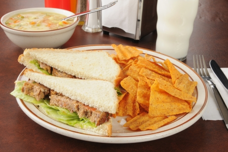 meatloaf: meatloaf sandwich with chips and soup