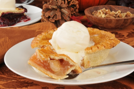 An apple pie with vanilla ice cream photo