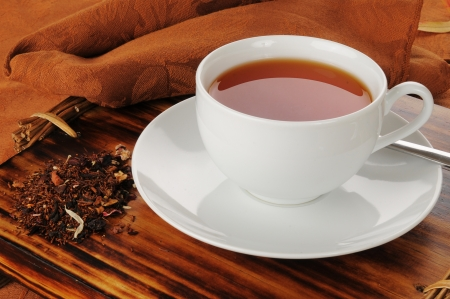 A cup of hot honey spice rooibos tea Stock Photo