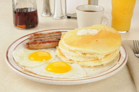 jacks: Sausage and egg breakfast with flap jacks Stock Photo