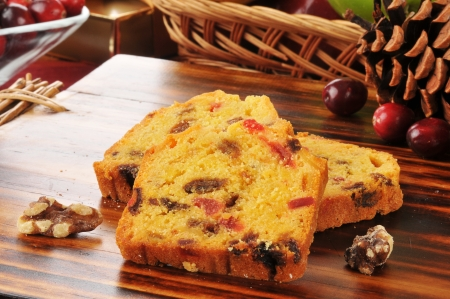 Slices of Christmas fruit cake with cranberries photo