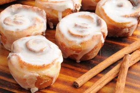 Close up of mini cinnamon rolls