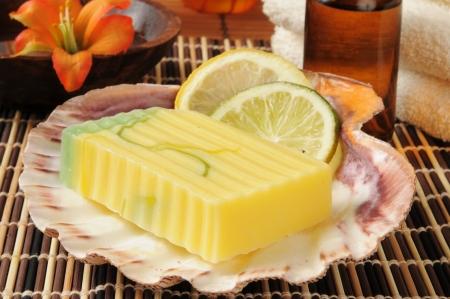 glycerin soap: A bar of lemon lime infused glycerin soap