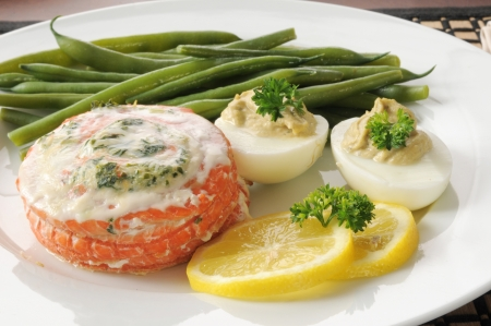 Closeup of salmon stuffed with spinach and feta cheese Stock Photo - 19294783