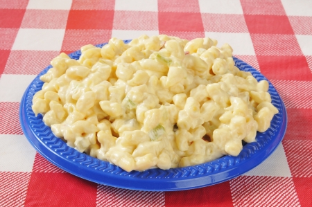 A plate of macaroni salad on a picnic table
