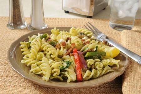 A spinich and basis pesto pasta salad