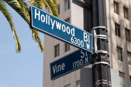 Street sign marking the famous intersection of Hollywood and Vine Streets in Los Angeles, California
