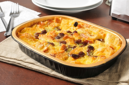 A serving dish of delicious bread pudding
