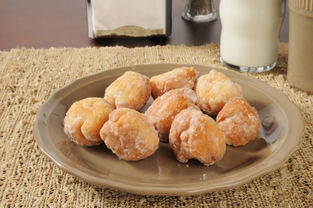 Doughnut holes with coffee and milk