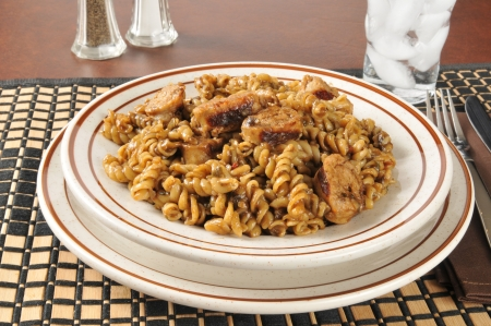A bowl of quick and easy sausage, pasta gumbo Stock Photo