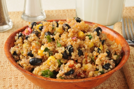 corn salad: A bowl of black bean and quinoa salad Stock Photo