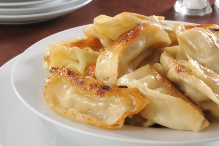 Closeup of a plate of potstickers