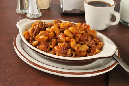 Chili macaroni with hamburger in a casserole dish photo
