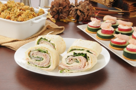 pinwheels: Sliced turkey or chicken wraps with canapes and dressing