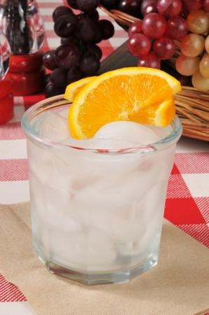 seltzer: An orange spritzer with fresh orange slices