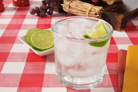seltzer: A glass of sparkling mineral water with a slice of lime