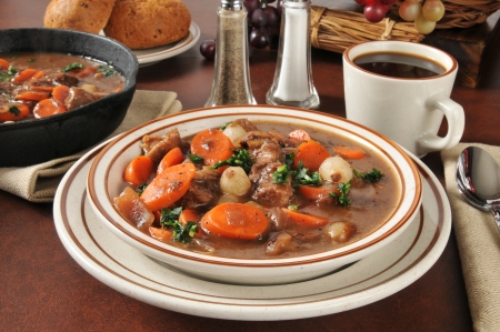 Beef stew with carrots, mushrooms, pearl onions in a burgundy wine sauce Stock fotó