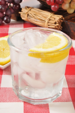 seltzer: A glass of sparkling water with a slice of lemon Stock Photo
