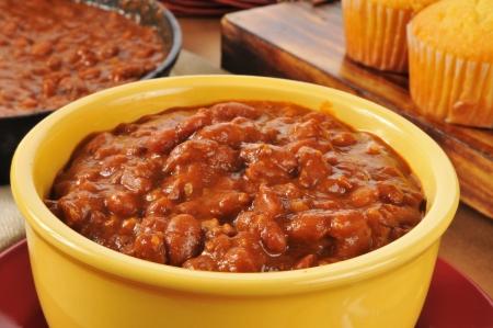 cornbread: Closeup of a bowl of chili con carne