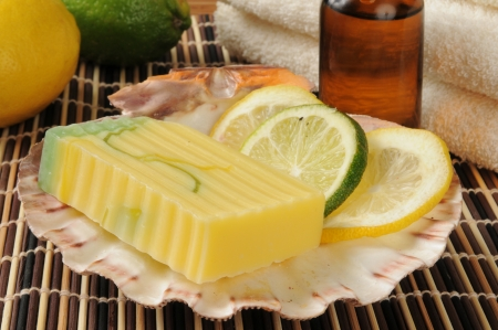 glycerin soap: Citrus infused aritsan glycerin soap with essential oils in a spa