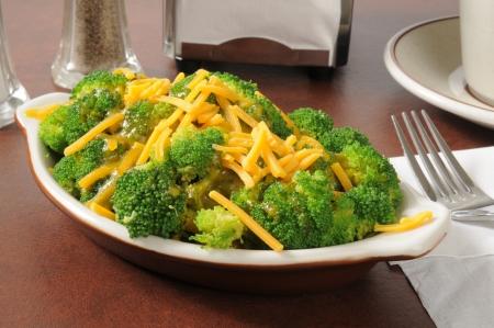 Fresh broccoli with cheddar cheese in a mini casserole dish Stock fotó
