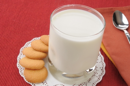 snaps: Lemon snaps and a glass of milk on a doily Stock Photo