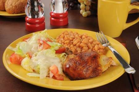 barbecued: Barbecued chicken with salad and baked beans