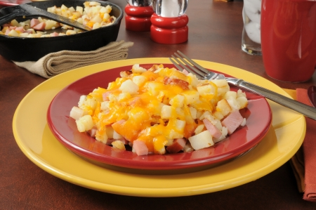 hash: Southern style hash browns with diced ham and cheddar cheese