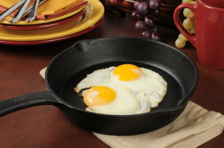 Fried eggs in a cast iron skillet