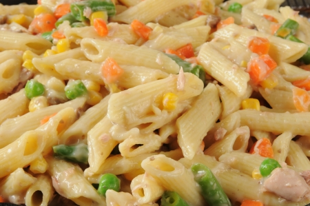 tunafish: A closeup of tuna noodle casserole with penne rigate noodles