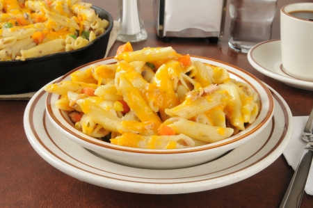 tunafish: Tuna casserole with mixed vegetables on penne pasta