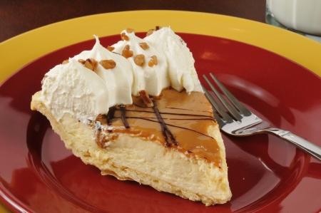A slice of gourmet Dulce de Leche cream pie Stock Photo